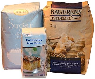 Sukker og mel er kulhydrater