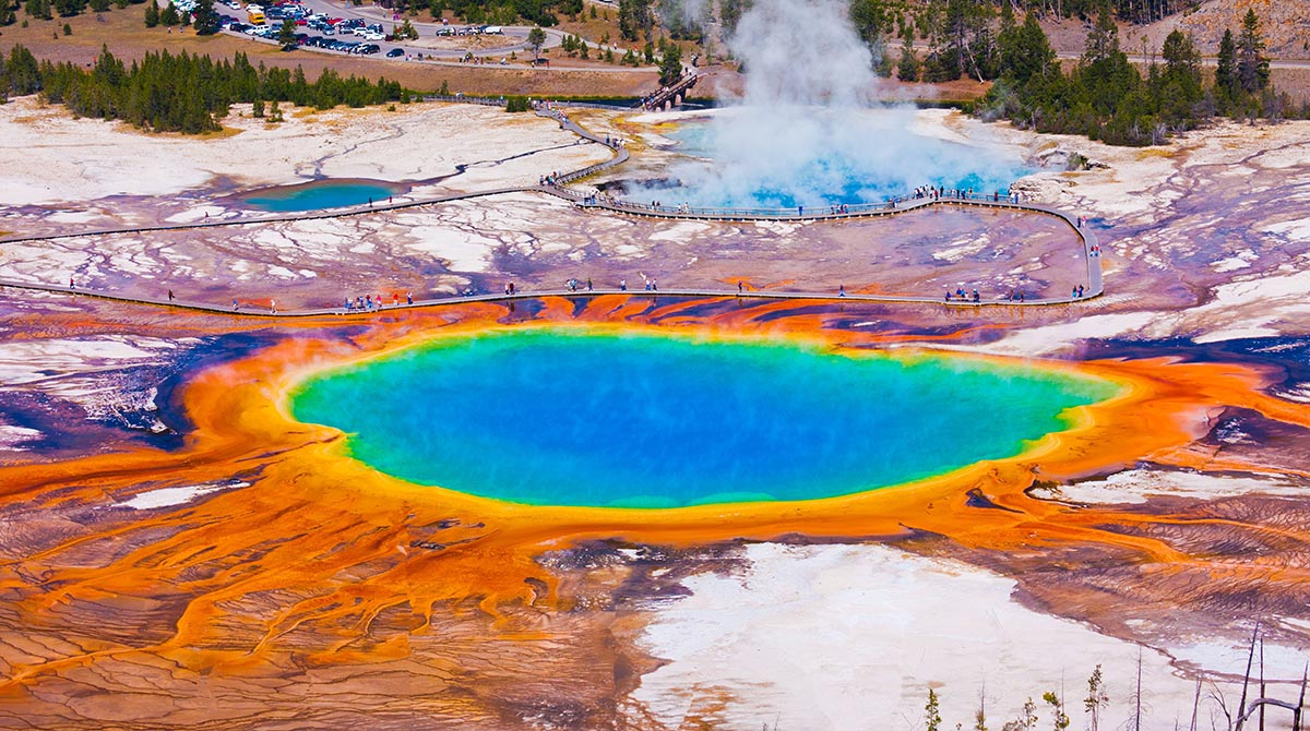 Grand Prismatic Spring, Yellowstone National Park i Wyoming, USA.